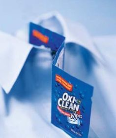 OxiClean Wipes get out tough stains, such as sauce/ lipstick/ salad dressing. And unlike other stain removers, OxiClean Wipes don't leave a ring on light-colored clothing