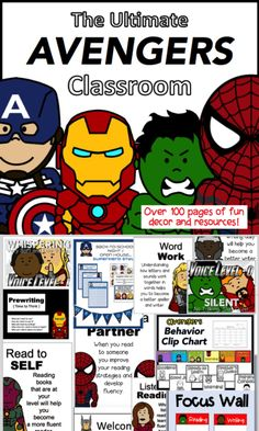 Avengers/Superhero themed classroom decor and behavior management tools! Everything you need to get your class going, and to get you through the year! Included are: Behavior Clip Chart Superhero Bulletin Boards, Superhero Classroom Decorations, Classroom Themes, Classroom Activities, Superhero Classroom Rules, Superhero Behavior Chart, Toddler Classroom, Classroom Behavior, Writing Process Posters