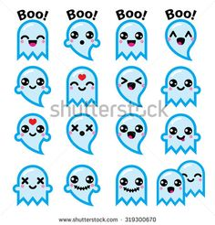 Kawaii cute ghost for Halloween blue icons set  by RedKoala