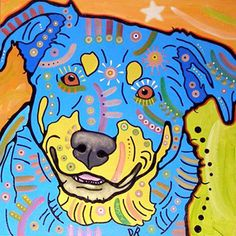 Fine Art -- A portrait by Dean Russo of a hot dog named Rusty.