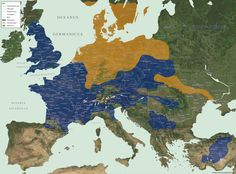 Map of Europe tribes, 52 BC