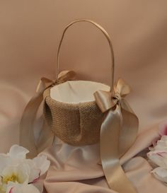 Rustic Earthy Burlap Flower Girl Basket with Satin Bows...BOGO HALF OFF... You choose the colors...shown in champagne. $45.00, via Etsy.