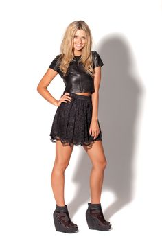 NWT - Lace Black Skirt by Black Milk Clothing-S Too small on me :( Chic Outfits, Pretty Outfits, My Unique Style, My Style, Gothic Punk Fashion, Lacey Black, All Fashion, Womens Fashion, Black Skater Skirts