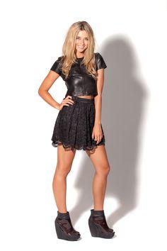 Lace Black Skirt by Black Milk Clothing