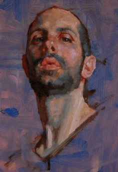 """Self-Portrait"" - Kerry Dunn, oil on board {contemporary artist male head bearded man face cropped painting #loveart} kerrydunnpaintingaday.blogspot.ca"