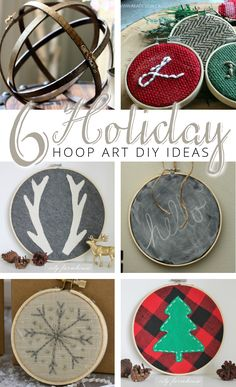 6 Holiday Embroidery Hoop Art DIY Ideas via Noel Christmas, Diy Christmas Ornaments, Rustic Christmas, Handmade Christmas, Holiday Crafts, Christmas Decorations, Christmas Projects, Christmas Ideas, Primitive Christmas
