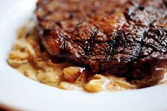 Grilled Ribeye Steak with Onion-Blue Cheese Sauce | The Pioneer Woman Cooks | Ree Drummond