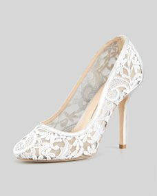 Lace-Mesh Pump, Gray. A perfect pair that may go with http://brideinvintage.com/home/1-white-dahlia-wedding-gown.html