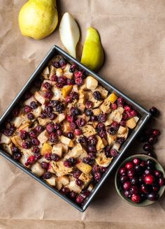 Cranberry and Pear Vegan French Toast Casserole- Chock full of cranberries and juicy pears, this vegan french toast casserole is a delicious holiday brunch dish!