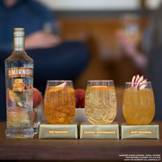 Which one of these #cocktails will snag the award for best tasting? Mix them up at your awards party and find out. Just mix #Smirnoff #KissedCaramel with peach tea, ginger ale, or apple cider! #EasyDrinks