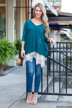 """""""Good Time Tunic, Teal""""This slouchy tunic is a MUST HAVE! The color is beautiful and peppy! It features a slight hi-lo hemline and oversized pocket for details both of which are fun and trendy! #shopthemint #newarrivals"""