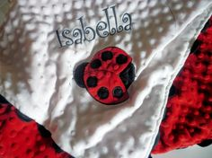 Minky baby blanket personalized -red and black Ladybug 30x35 stroller blanket