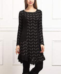 Another great find on #zulily! Charcoal Geometric Shift Dress #zulilyfinds