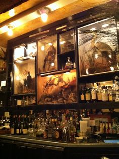 taxidermy behind bar; industrial lighting; dark wood accents; use of dried plant material as decoraiton