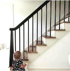Report Exposes The Unanswered Questions On Staircase Remodel Stair Redo Banist. - Report Exposes The Unanswered Questions On Staircase Remodel Stair Redo Banist… Report Exposes The Unanswered Questions On Staircase Remodel Stair Redo Banisters 91 Black Stair Railing, Wood Railings For Stairs, Redo Stairs, Indoor Railing, Interior Railings, Black Stairs, Stair Railing Design, Wood Staircase, Staircase Remodel