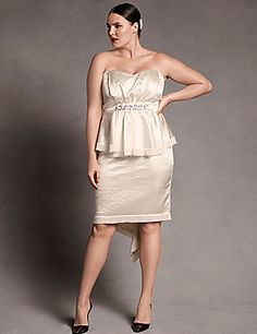 Satin Bustier Strapless Dress by Isabel Toledo | Lane Bryant - I love this for YOU or your Maidens sizes 12 -24 - This awesome dress can be worn for a 2nd Wedding - Rehearsal Dinner - Just to name a few - I Love It!