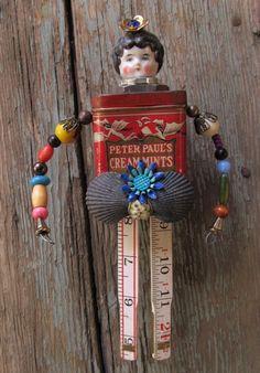 Vintage Tin Assemblage Art Doll / Frozen Charlotte / PAULETTE.  via Etsy.