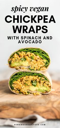 Spicy Chickpea Wraps with Avocado and Spinach. These super easy, healthy vegan wraps take just minutes to make but they taste amazing. Try them for a quick, plant-based meal. via lunch ideas Spicy Chickpea Wraps with Spinach and Avocado Vegan Foods, Vegan Dishes, Whole Food Recipes, Cooking Recipes, Super Food Recipes, Cheap Recipes, Quesadillas, Tostadas, Healthy Drinks
