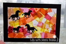 """Life with Moore Babies: """"Stained Glass"""" Horses Horse Crafts Kids, Camping Crafts For Kids, Summer Camp Crafts, Cool Art Projects, Projects For Kids, Project Ideas, Craft Ideas, Therapeutic Horseback Riding, Horse Camp"""