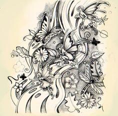 Fairyland tattoo design by Dawn Louise Violet Lynch (~DawnyDawn)