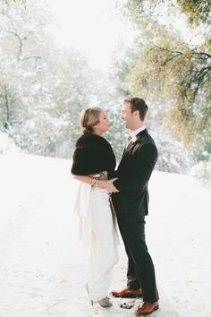 Winter Wedding First Look - A Vintage Fur Cape for a Romantic Snowy Winter Wedding