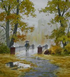Art Of Watercolor Watercolor Pictures, Watercolor Trees, Watercolor Landscape, Abstract Landscape, Landscape Paintings, Watercolour, Rain Painting, Watercolor Painting Techniques, Watercolor Artists