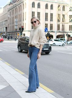 flared denim & a chunky knit. #JosefinDahlberg in Stockholm.