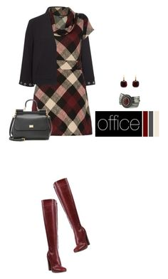 Office outfit: Burgundy - Black - Beige by downtownblues on Polyvore featuring polyvore fashion style Pomellato Dolce&Gabbana Jil Sander clothing plaid officewear tartan tartandress