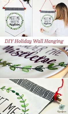 DIY Embroidered Fabric Wall Hanging for the Holidays. Learn to make this great gift / holiday decoration with @emma_l_jeffery