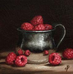 Raspberries in Silver Cup, Original Oil Painting still life by Jane Palmer by JanePalmerArt on Etsy https://www.etsy.com/listing/222642602/raspberries-in-silver-cup-original-oil