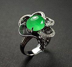 Jadeite Jade 設計款老坑種翡翠戒子