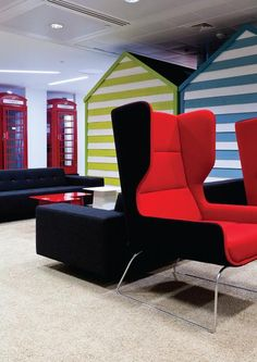 The London-Brighton theme is manifested in beach huts, used for small meetings and interviews - Google, Buckingham Palace Road, London