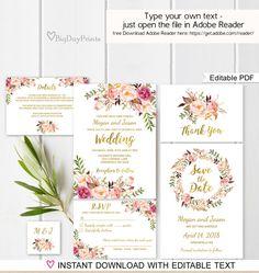 Floral Wedding Invitation Template White Boho Chic by BigDayPrints