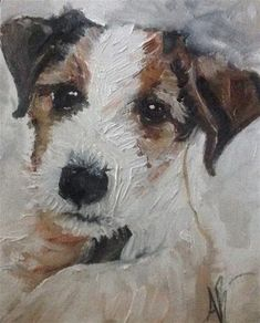 """Daily+Paintworks+-+""""Restless+Russell""""+-+Original+Fine+Art+for+Sale+-+©+Annette+Balesteri"""