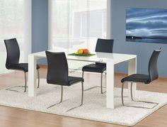 Atrakcyjny wizualnie stół Jonas to ciekawe stylistycznie połączenie płyty MDF ze szkłem malowanym. #jadalnia #stół #nowoczesny