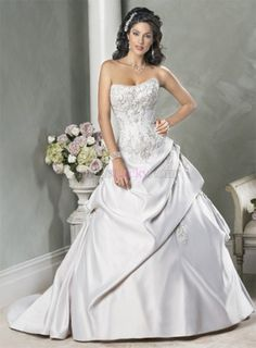 Silver Ball Gown Strapless Long/Floor-length Hall Satin Wedding Dresses WD1976