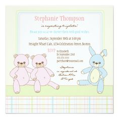 Teddy & Bunny Triplets Baby Shower Invitation