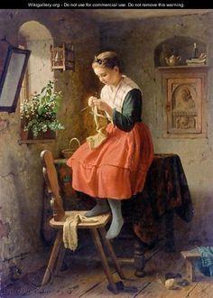 girl knitting by a window meyer georg von bremen