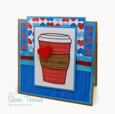 'I love you a latte' Valentine's Day card with DigiBoutique digital stamp