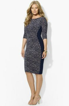 Lauren Ralph Lauren Floral Print Jersey Sheath Dress (Plus Size ...