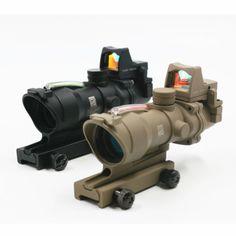 Tactical ACOG 4x32 Real red Fiber Optic Illuminated Rifle Scope w/ RMR Red Dot