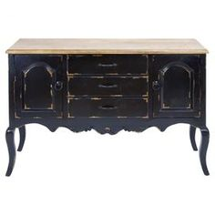 Wood credenza in antiqued black credenza with three drawers and two side cabinets.    Product: CredenzaConstruction Material: WoodColor: Antiqued blackDimensions: 33 H x 48 W x 17 D
