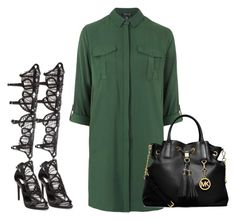 """Khakí."" by fabianamoss ❤ liked on Polyvore featuring Topshop, Schutz and MICHAEL Michael Kors"