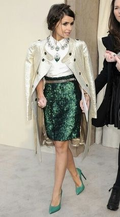 Street Style: Sparkling Emerald Skirt & Shoes