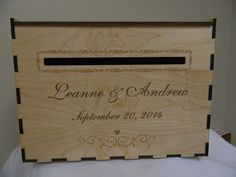 Wedding Card Box - Engraved Personally-laser cut  maple wood #ElkwoodArts