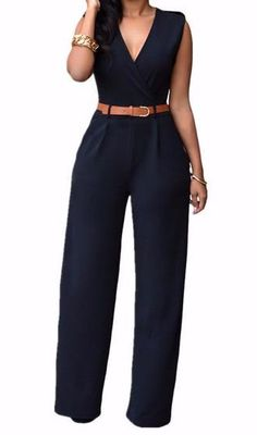 Women's Fashion V-Neck Belt Elegant Work Wear Jumpsuit_________10% OFF Coupon Code: PNTRST10_________Zorket Provides Only Top Quality Products for Reasonable Prices + FREE SHIPPING Worldwide_________