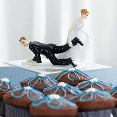 Comical Couple with the Bride 'Having the Upper Hand' Cake Topper