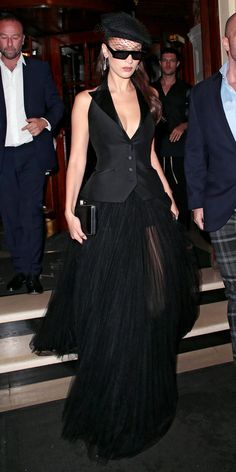 Bella Hadid went all out for a Dior event in London, wearing an open-back vest, tulle skirt, and a veiled beret by the brand. Bella Hadid Outfits, Bella Hadid Style, Bella Hadid Red Carpet, Skirt Outfits, Emo Outfits, Dress To Impress, Nice Dresses, Dress Up, Fancy Dress