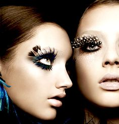 Bright Eye Make-Up Feather Eyelashes Feather Eyelashes, Fake Eyelashes, False Lashes, Big Lashes, Eyelashes Makeup, Exotic Eye Makeup, Crazy Eye Makeup, Face Makeup, Bird Makeup