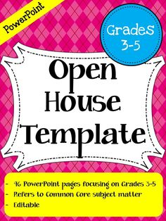 Open House PowerPoint Template (Grades 3-5) - This Open House PowerPoint has 46 pages of customizable content!! Big time saver for back to school planning. $$
